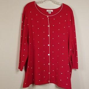 CJ Banks plus sz 3X polka dot cardigan red/white